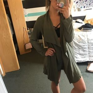 Olive trench coat/cardigan